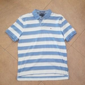 Mens Y2K Tommy Hilfiger Blue Striped Polo Shirt